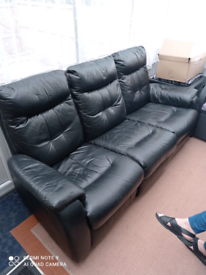 Free 3 seater leather sofa in black