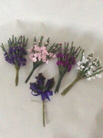 Heathers and thistle buttonholes weddings crafts flowers