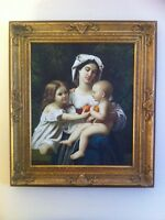 Antique oil painting signed with large gold frame peinture