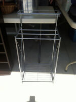 Brushed silver towel stand