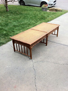 Bamboo, Wicker and Maple Coffee Table