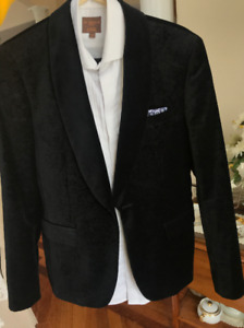 Men's Black Suit with Tuxedo  Shirt OBO