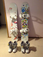 New Burton and K2 snowboards, bindings, and boots.