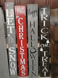 """Dual Sided """"Halloween/Christmas"""" Porch Sign"""