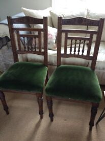 Pair of Attractive original Victorian / Edwardian Dining Chairs ideal Upholstery Project