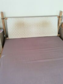 IKEA wood frame double bed with adjustable headboard