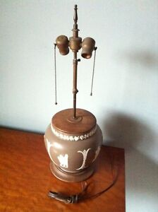 Antique table lamp with a Wedgwood jar base
