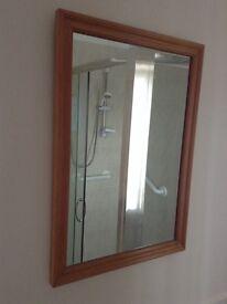 Pine frame glass mirror