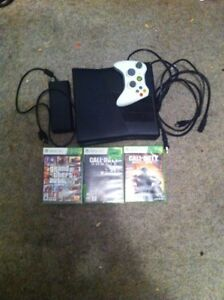 Xbox 360 with 1 controller and 3 games