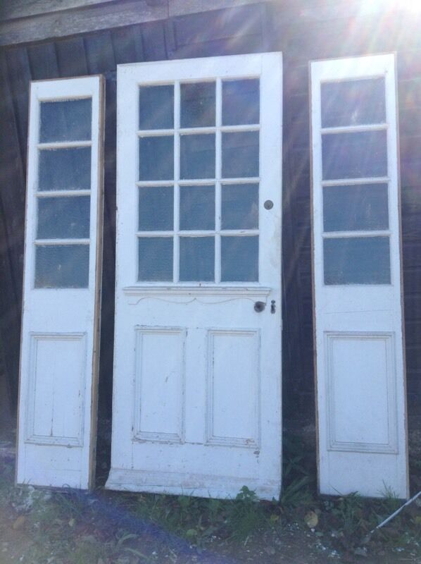 Reclaimed 1930's Soft Wood External Door with Side Panels ... on