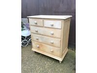 Huge chunky Victorian pine chest of drawers