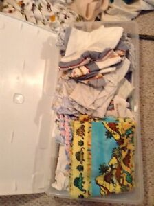 Bag of baby sheets (flannel and cotton) bed skirts and blankets