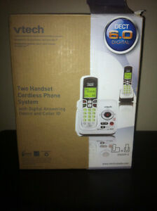 v-tech double cordless phone set