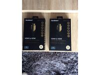 Two Gold HDMI cables