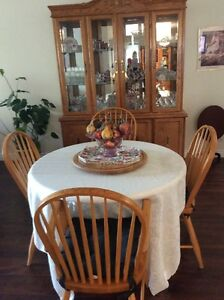 Solid Wood Table with 4 chairs (2 leafs) and China Cabinet