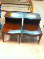 Wood with leather inlay end tables