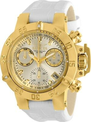 Invicta Womens Subaqua Noma III Gold-Tone Chrono Dial White Leather Strap Watch