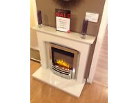 Hereford Arch Complete Fireplace In White Micromarble