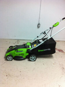 Greenworks 10A Electric Lawn Mower, 16-in like new only $155