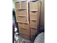 3 wood and basket drawer sets