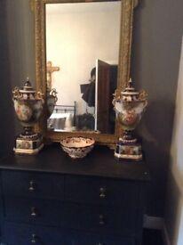 Huge rare antique Victorian hand painted Vienna urns pair