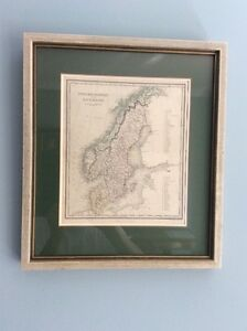 Antique (1830s) map of Sweden, Norway and Denmark