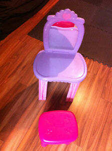 Little Girl's Play Vanity Mirror and Stool Set