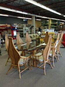 8 Chair and Table Wicker Set