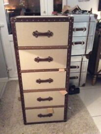 Fantastic Fabric 5 Drawer Tallboy With Leather Look Trim