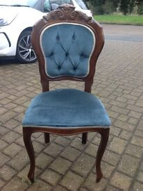 French Louis Style Velvet Button Back Queen Anne Bedroom Chair Shabby Chic