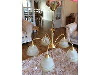 Chandelier gold coloured with defused glass shades