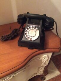Antique original finger dial Bakelite telephone