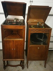 ANTIQUE GRAMOPHONE PHONOGRAPH RECORD PLAYER EDISON & UNKNOWN