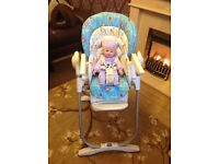 "FOR SALE ""CHICCO""BABY HIGH CHAIR VERY GOOD CONDITION :"
