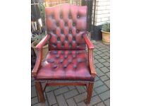 Vintage Ox Blood Leather Chesterfield Gainsbourgh Desk Study Library Chair