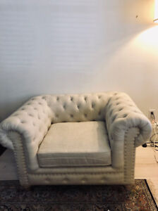 Pair of Linen Chairs - Down-Feather filled - LIKE NEW.