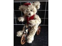 Vintage Collectors Teddy Bear on Bike