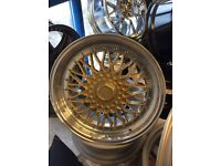 """18"""" BBS Rs style gold face polished deep dish alloy wheels 5x110/112"""
