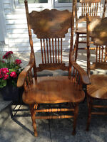 Solid OAK Press-back Chair Set– 2 Arm Chairs and 4 Side Chairs