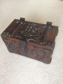 Antique old church collection box chest strongbox safe