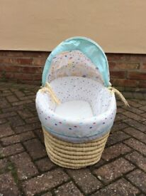 Moses basket, changing mat, baby bath and bouncy chair