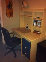Wood desk, leather chair and filing cabinet