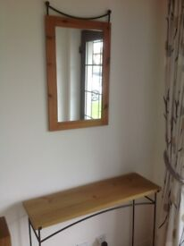Wooden and Rod Iron table and Mirror