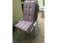 Set of 4 seat with high back garden seat cushions
