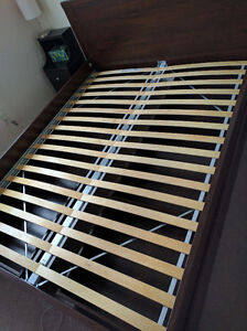 IKEA BRUSALI Bed frame with 4 storage boxes, brown, Luröy
