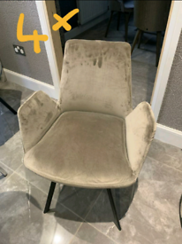 REDUCED - 4x Brand New Soft Suede Fabric Dining Chairs