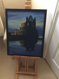 Acrylic picture of whitby Abby on canvas original