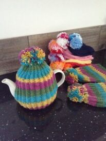Hand knitted POM POM TEA COSY teacosy HIPPY STRIPE Easter Mother's Day gift knit