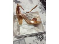 Bnwt size 3 gold shoes