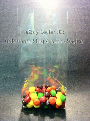 2500 Pcs 4x2x12 Clear Side Gusseted Poly Cello Bags Good For Candy Cookie Bakery